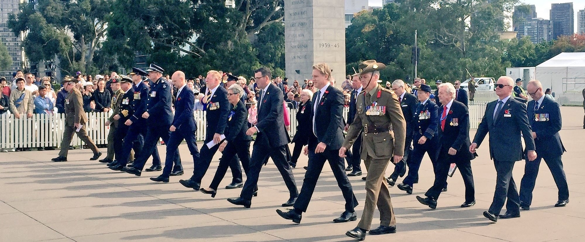 The Governor taking part in the Anzac Day March.
