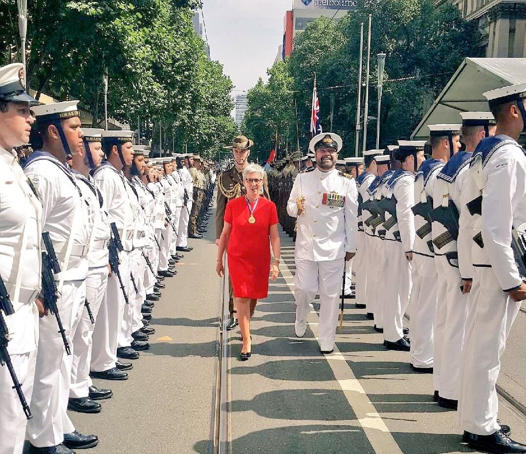 The Governor inspecting troops on Australia Day.