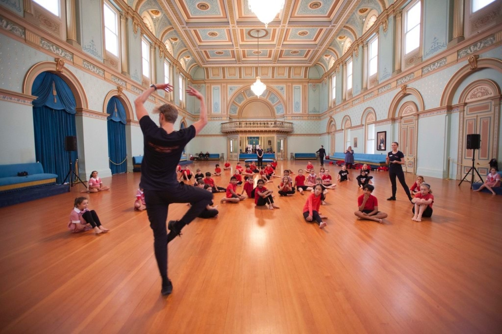 Ballet workshop with students in the Ballroom