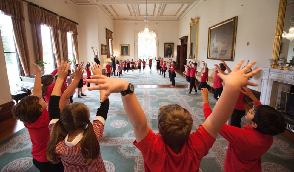 Students taking part in ballet workshops in the State Drawing Room
