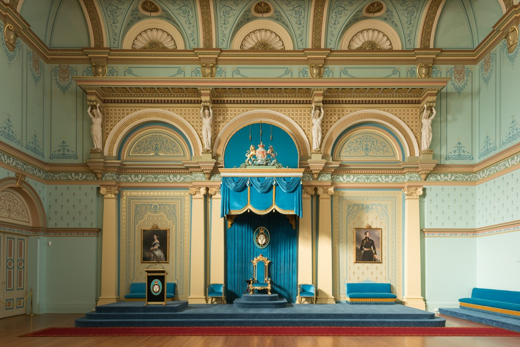 The State Chair on the dais in the Government House Ballroom