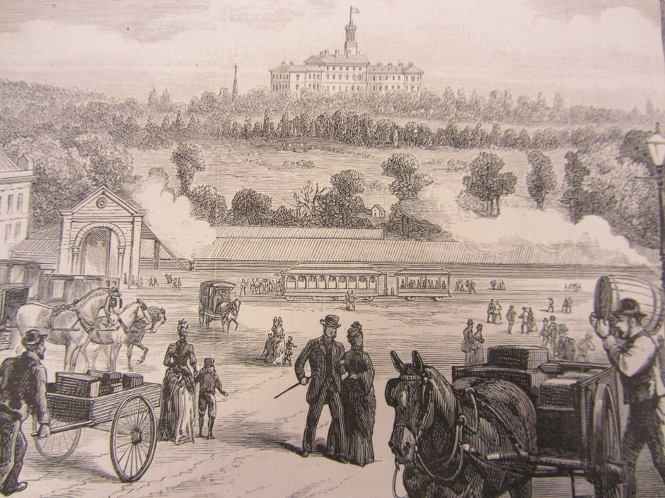 1889 sketch of Government House with horse and carriages in foreground.