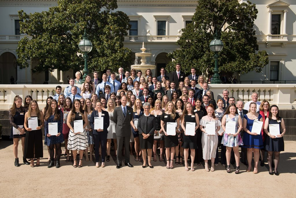 HRH The Earl of Wessex and the Governor in a group photo with Duke of Edinburgh Award recipients