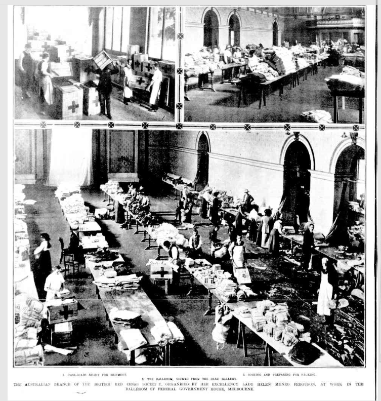 Newspaper images of Red Cross in the Ballroom in 1914