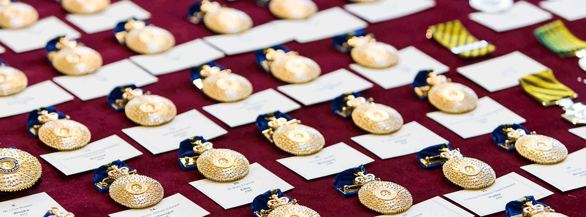 Australian honours and awards in rows ready for awarding