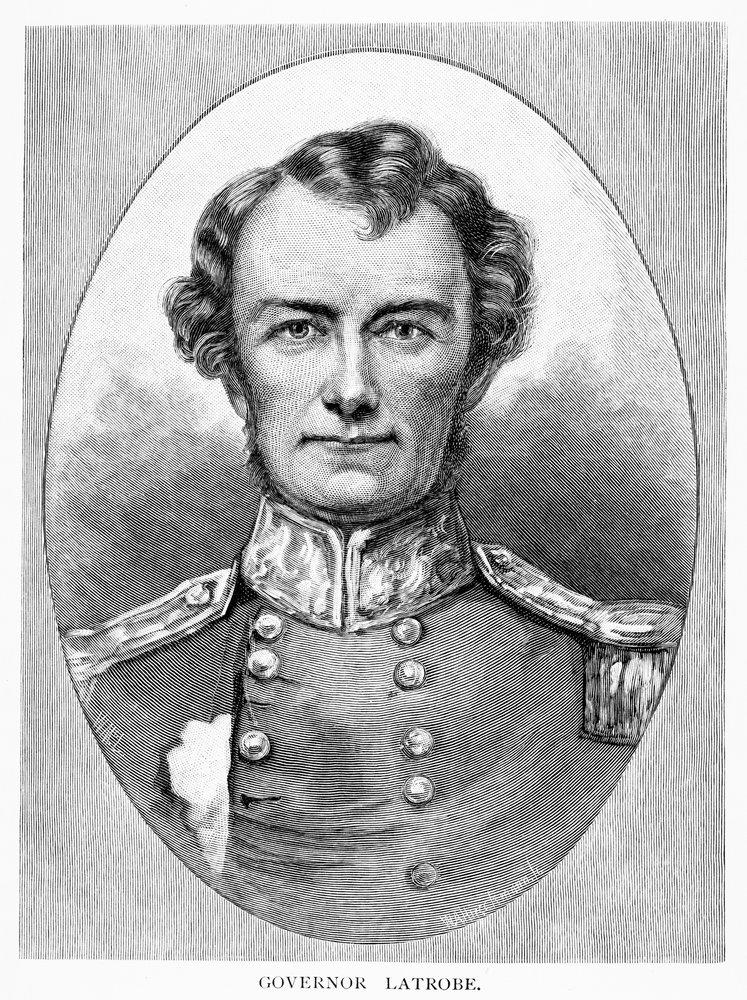 Wood engraving of Charles J. La Trobe Lieutenant-Governor of Victoria