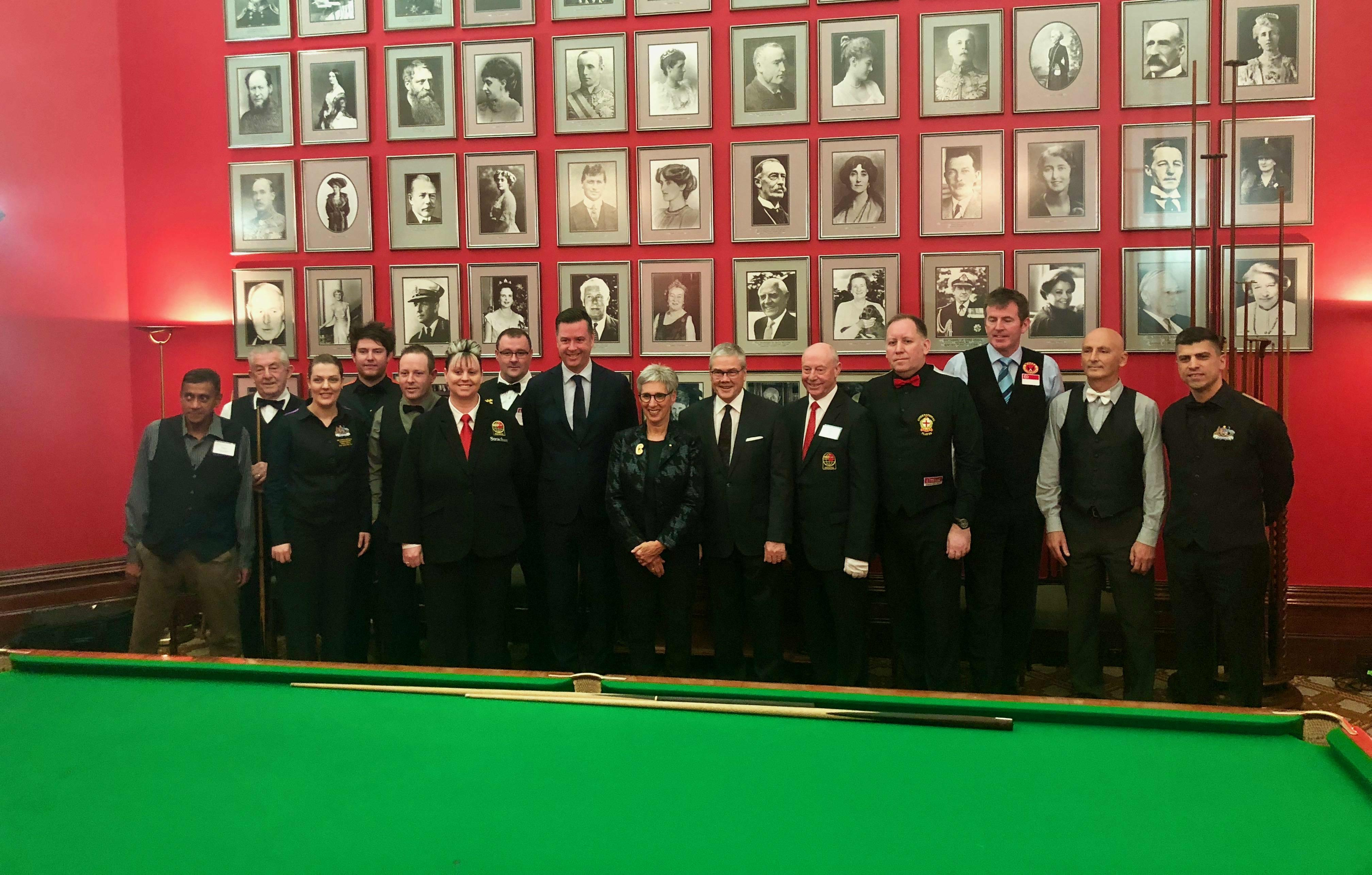 Billiards and snooker champions in the Ballroom with the Governor and Mr Howard.