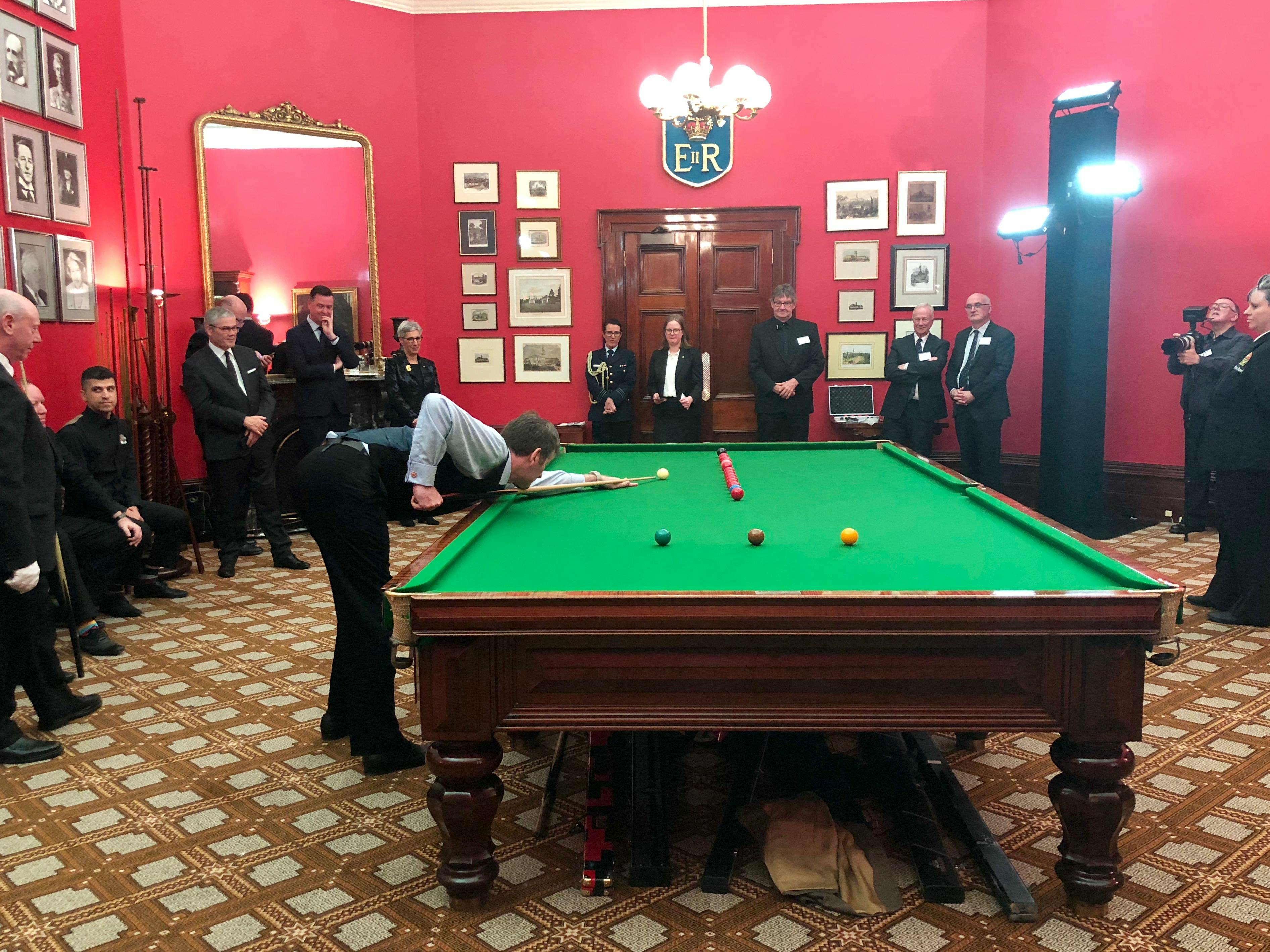 World Number One billiards player Peter Gilchrist plays at Government House.