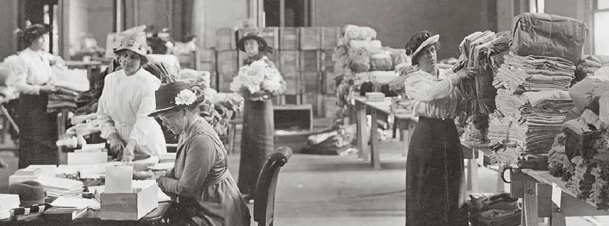 old photo of Red Cross workers at Government House with supplies for WW1