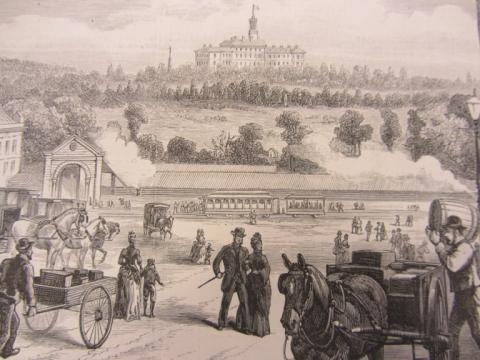 Sketch of House from 1889 with horse and carriages in foreground